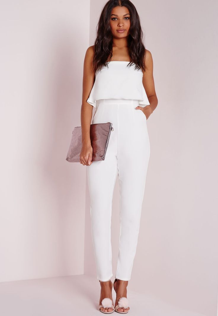 Missguided Double Layer Bandeau Jumpsuit White Close