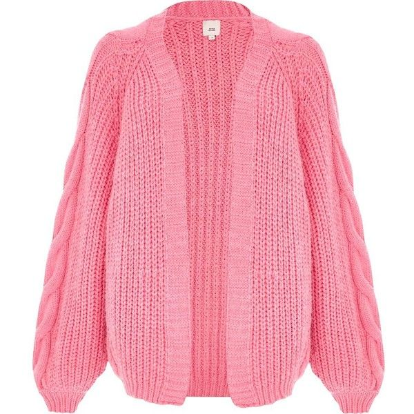 6f53f155a44 River Island Pink balloon sleeve cable knit cardigan (1,480 EGP ...