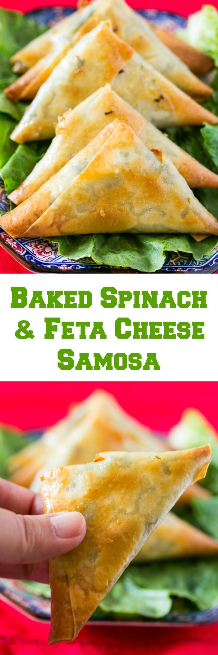 A collage of baked spinach and feta cheese filled samosa
