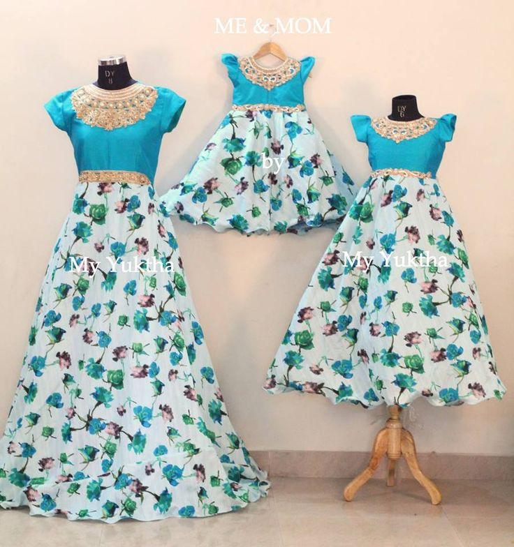 blue, floral, long frock, Mother daugther duo, matching