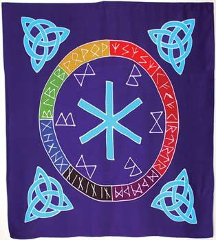 The Mother of all runes, surrounded by the magical Norse runes for healing and good luck, graces the face of this 3` square altar cloth. Made of 100% rayon batik, Celtic knotwork triquetras form the corners of this beautiful cloth, usable as an enchanting adornment for your home or person as well as for its intended use upon your altar. $35.95