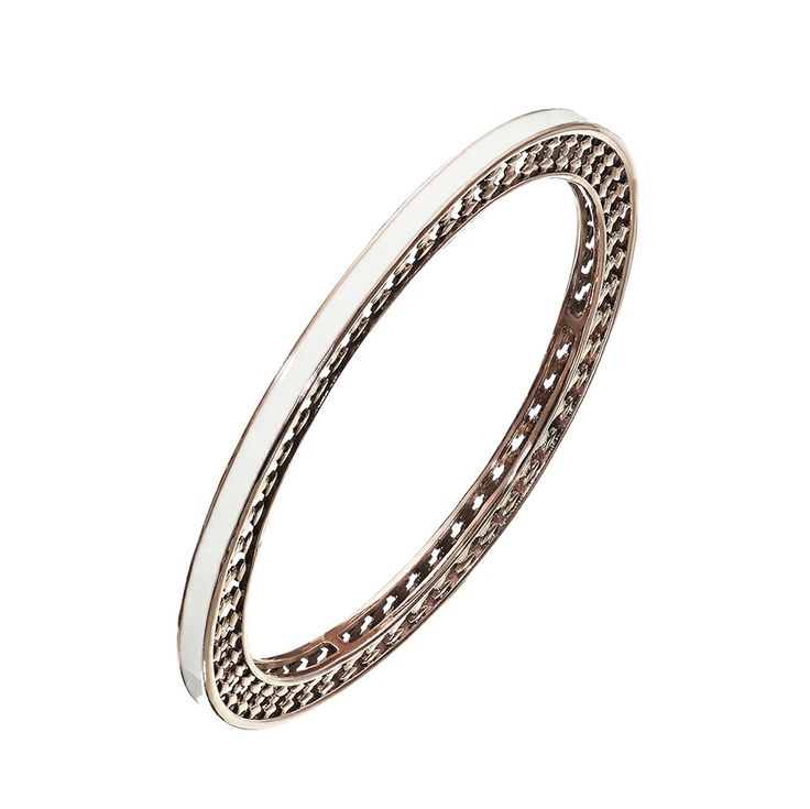 Oxettissimo White Braceletet - Available here http://www.oxette.gr/kosmimata/vrahiolia/stainless-steel-rosegold-plated-wht-bangle-oxette673l-1/      #oxette #OXETTEring #jewellery