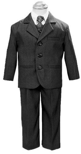 5 Piece Dark Gray Suit with Shirt, Vest, and Tie - Size 6 $49.99