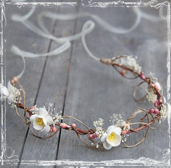 Cherry Blossom Head Wreath - Wedding Halo - Flower Crown Accessories - Weddings, Festival, Faire - Flower Girl, Bridal - Harajuku. $36.00, via Etsy.