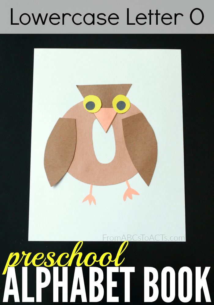 Preschool alphabet book lowercase letter o owl for Letter o crafts for preschool