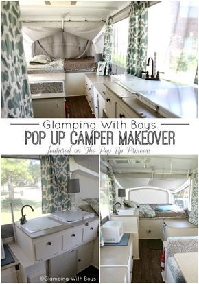 This is an amazing pop up camper remodel!  I love the colors she chose.  So calm and inviting.