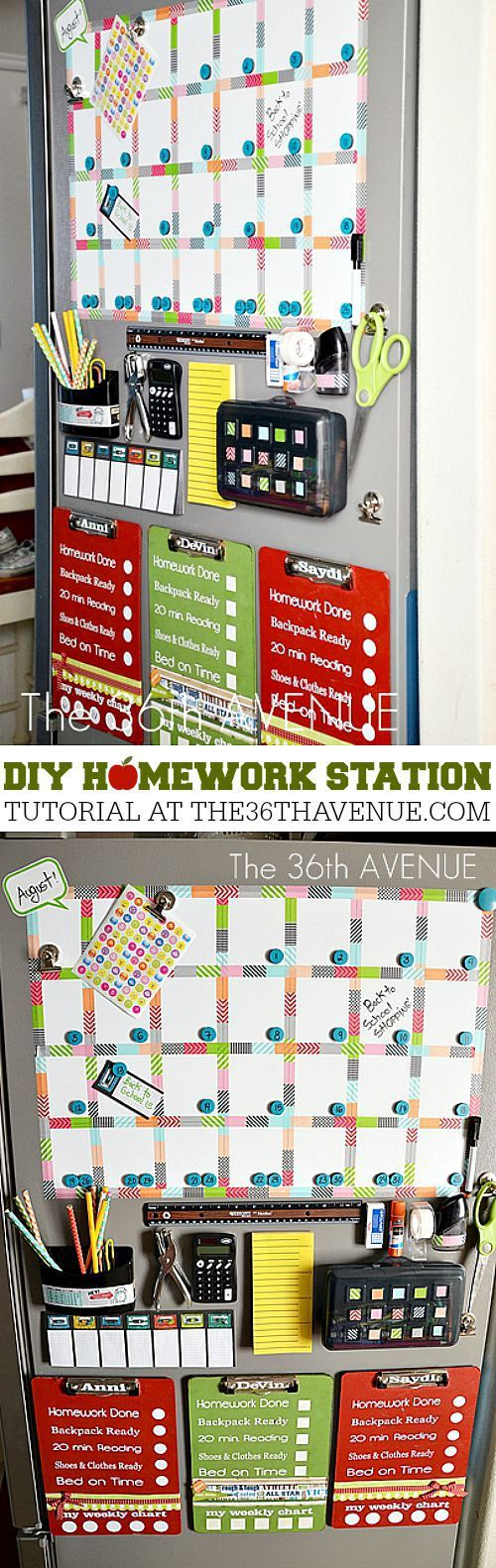 DIY Back to School Homework Station Ideas - Accessible and Organized and all on the side of your fridge - homework station tutorial via the 36th Avenue