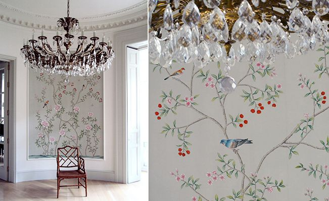 Modern chinoiserie 'Chinese Garden with Pheasants' by Misha wallpaper: Designer Isabel Lopez Quesada featured hand painted wallpaper Chinese Garden with Pheasants on Mist Green silk in entrance of a client's home in Madrid, Spain.