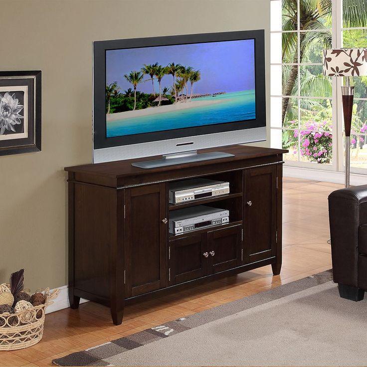 Simpli Home Carlton TV Media Stand, Dark Brown