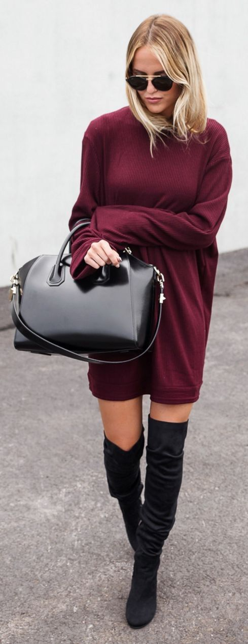 #spring #summer #street #style #outfitideas | Burgundy Oversized + Black Overknees |By Kiki