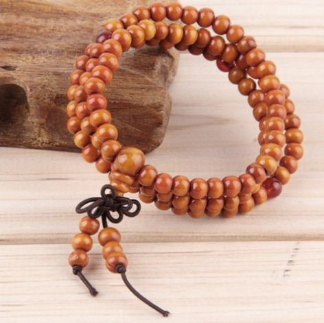 Orange Natural Sandalwood Meditation Beads