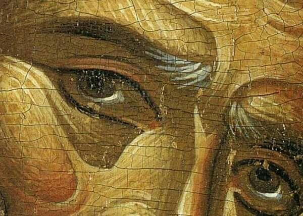 Simeon the God-receiver. Detail from M. Damaskinos 16th century