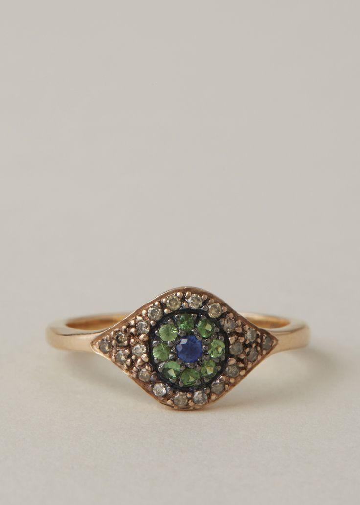 Makri Cat's Eye Ring (Rose Gold/Green)