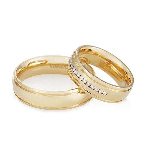 Aliança de casamento - Alianças ouro amarelo e diamante love me Vivara