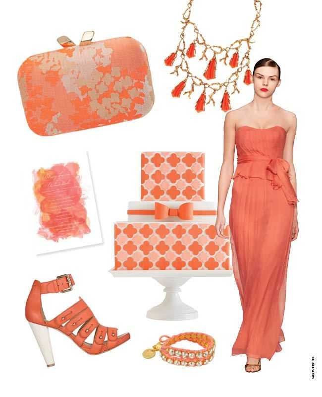 ivory and coral wedding dresses | Hot Coral Wedding Ideas! | The Knot Blog – Wedding Dresses, Shoes ...