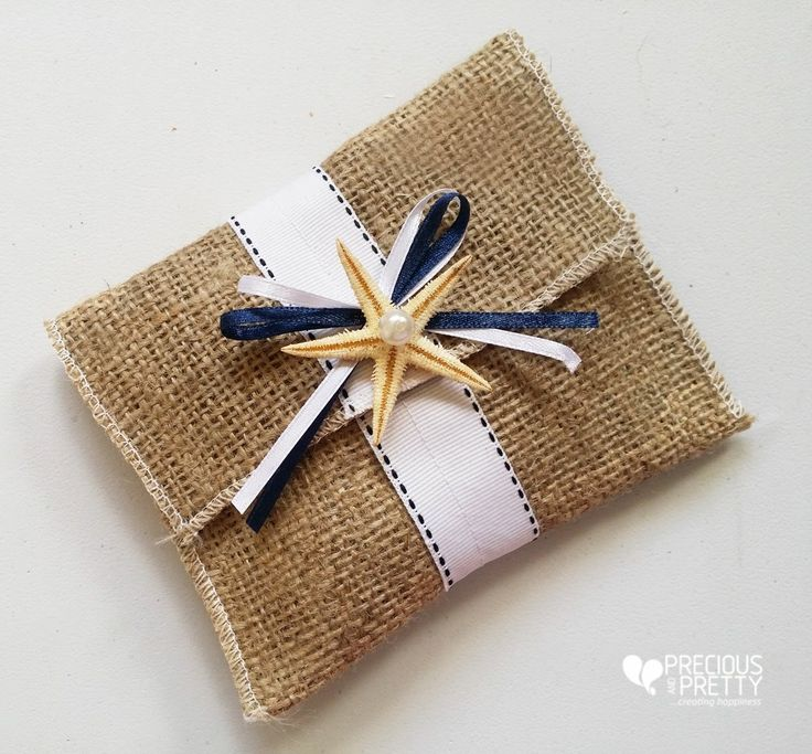 These elegant favors with burlap and starfish will decorate Alex and Maria's beach wedding in June! #weddings #beach #favors #starfish #greece #preciousandpretty