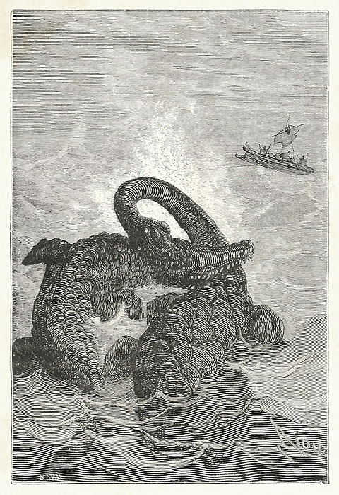 These animals fight with fury  Illustration by Edouard Riou, engraved by Pannemaker. From Cinq semaines en ballon (suivi de voyage au centre de la terre) (Five weeks in a balloon followed by a journey to the center of the earth), by Jules Verne, Paris, 1867.
