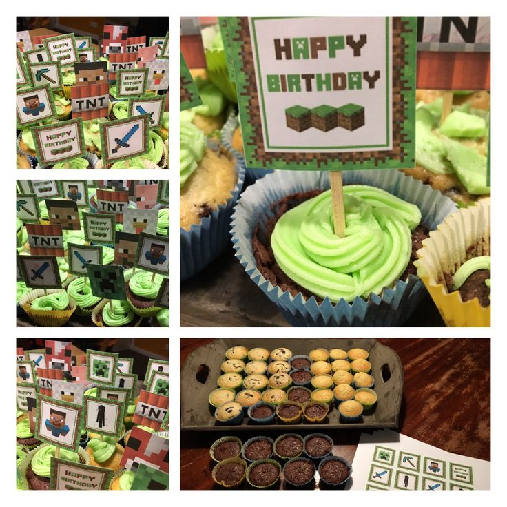 Cupcakes minecraft traktatie met groene botercreme topping Melvin 9 jaar