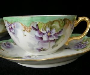 Set of 6 Signed 1905 FLORALS & GOLD SCROLL Limoges Cups & Saucers