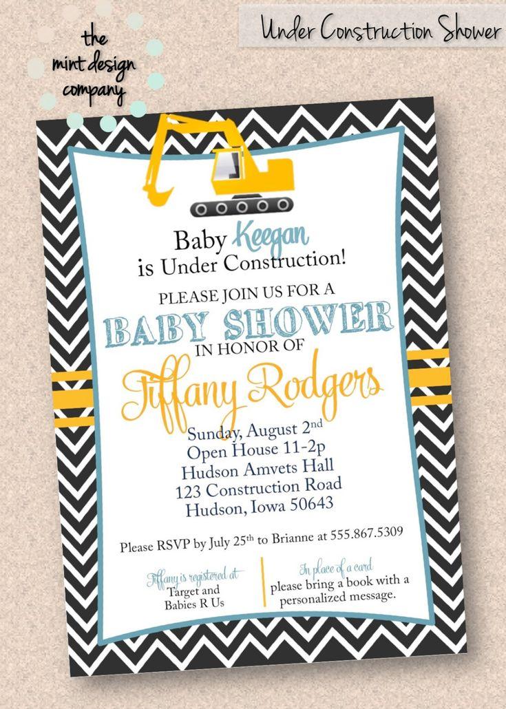 Under Construction Equipment Baby Shower Invitation Digital Design ...