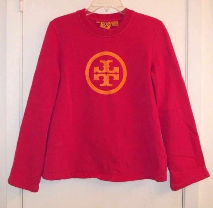 Tory Burch Size Medium Hot Pink Sweatshirt with Orange TB Logo 100% Cotton #ToryBurch #SWEATSHIRT #Casual