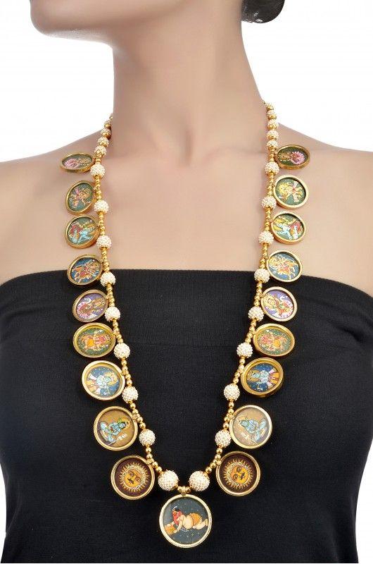 amrapali long painted necklace