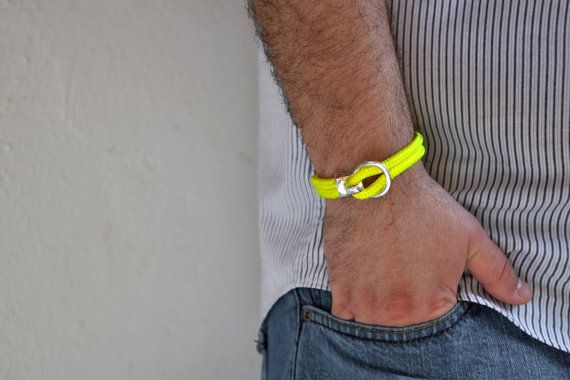 Men's nautical bracelet in neon yellow climb rope by Beh1ndByMK