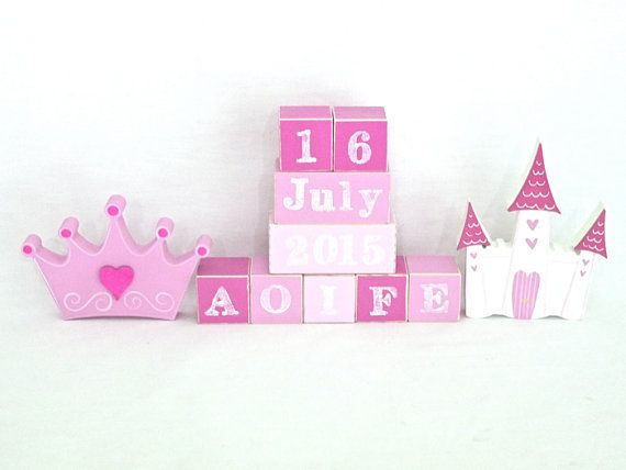 Princess wooden block set. Personalised Wooden Blocks make the perfect addition to any nursery. Place the wooden baby name blocks on a bookshelf, dresser or use them as a wooden toy. Custom baby blocks also make a wonderful new baby gift that can double as a baby photo prop. Wooden baby name blocks can be custom coloured to match you nursery decor.  * Two options available 1. Wooden Name and wooden shapes. 2. Wooden Name, DOB and wooden shapes.  Every block is hand made and painted. Your…