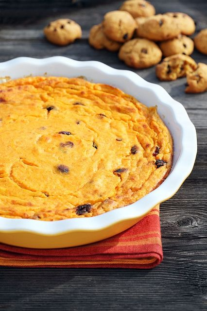 Quark and pumpkin pudding cake by Pille @ Nami-Nami. Serve as it is or with cranberry kissel.   Excellent Halloween or Thanksgiving dessert!