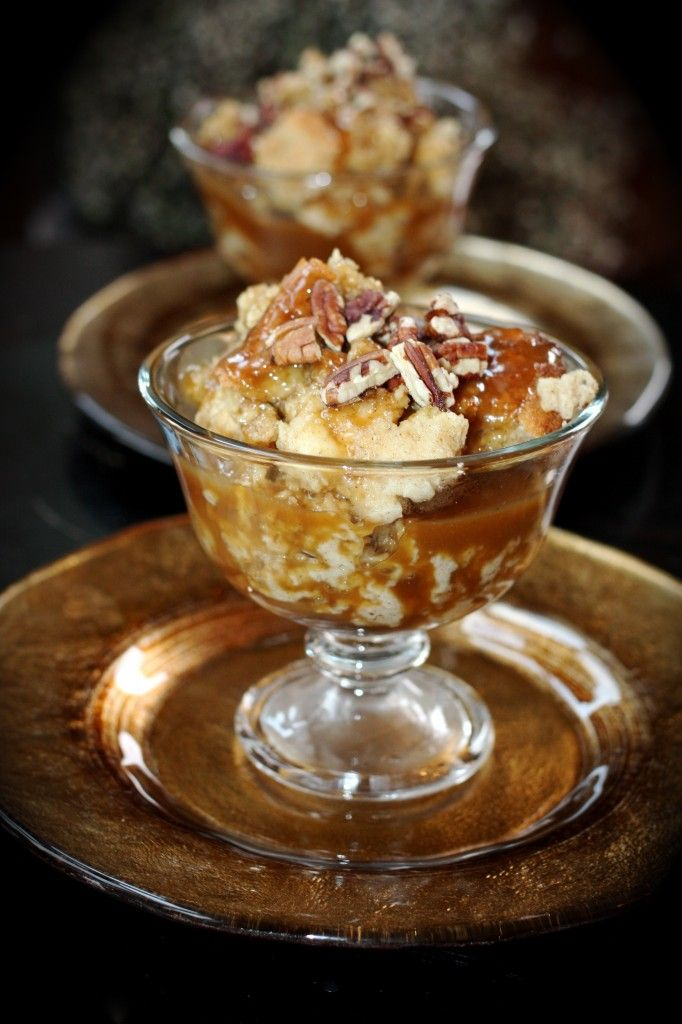 Apple Pecan Bread Pudding With Warm Caramel Sauce