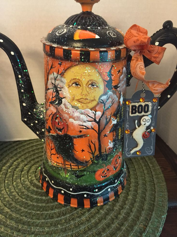 2016 Halloween Tea Pot, designed and painted by Lisa Stuckey