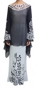 Matase Sutera Chiffon Floral Kurung in Black & White