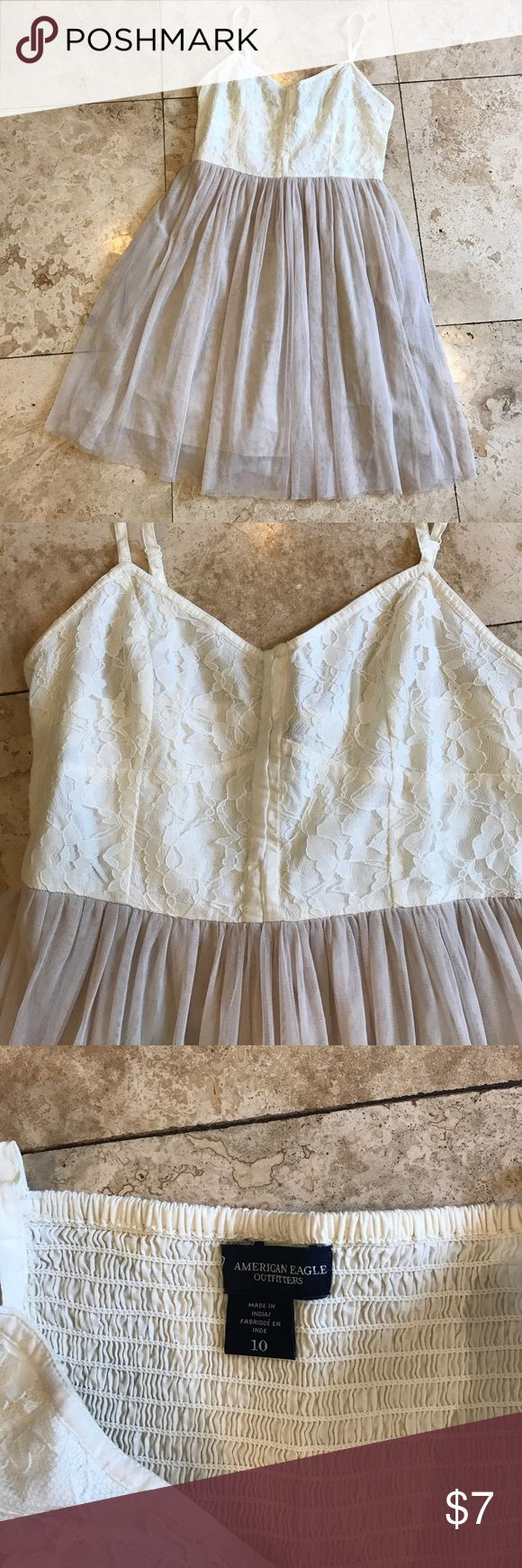 American Eagle Outfitters flirty dress. Size 10 Toile skirt with cotton and lace overlay top. Ballerina style taupe and cream American Eagle Outfitters Dresses Mini