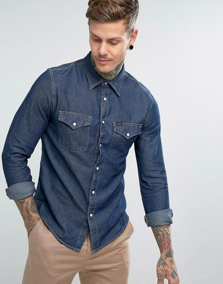 Lee Jeans Denim Western Shirt - Navy