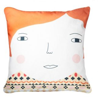 Donna Wilson Meg Cushion - orange Meg's big friendly face is printed on 100% Cotton, with back of head printed on reverse Comes with duck feather cushion pad