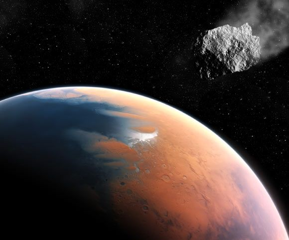 Mars' Two-Faces and Moons Could Result from an Early Cataclysmic Impact 7/4/17 An illustration of an asteroid on its way to ancient Mars. Image credit: M. Kornmesser / ESO / Nathan Owen-Price / Sci.News.