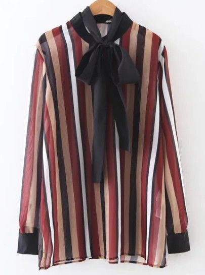 Multicolor Vertical Striped Tie Neck Chiffon Blouse