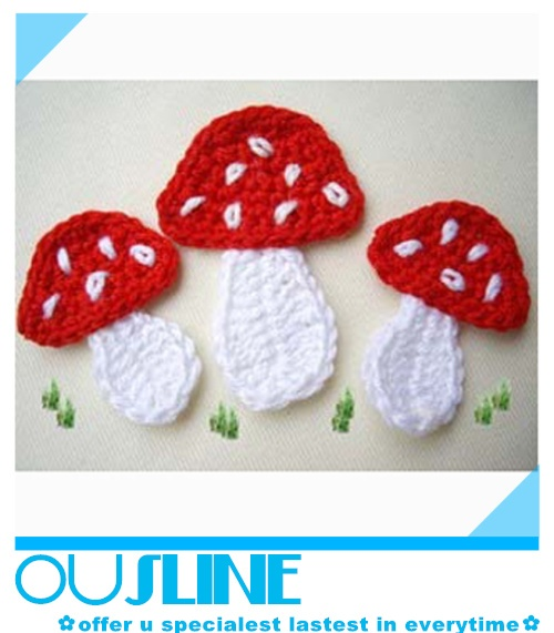New Design Child Cotton Crochet Mushroom Applique (CF-0032)