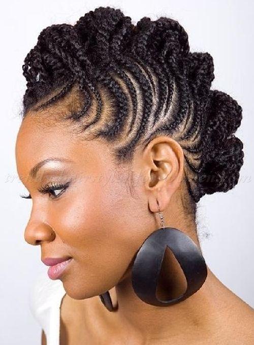natural hairstyles for long hair - cornrow bun hawk hairstyle