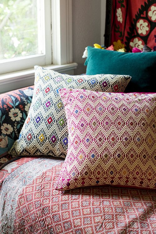 Design Sponge Throw Pillows : great globalist mix of pattern + color Patterns Pinterest Patterns, Pillows and Interiors