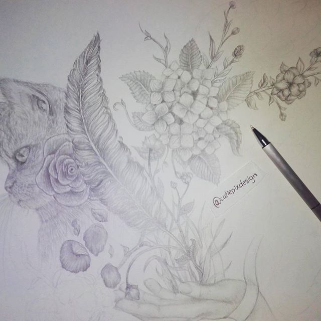 . Still dont know what it should be at the end xD i just draw what i like and what i want to draw when i have some time left xD . ~~~~~~~~~~~~~~~~~~~~~~~ #cutiepix #cutiepixdesign #draw #drawing #sketch #art #doodle #zeichnung #cat #katze #flowers #flower #blumen #artwork #artist #wip #workinprogress #bleistiftzeichnung #catdraw #catdrawing #flowersatwork #flowerart  #flowersdrawing #pencildrawing #pencildraw #catart #sketching #sketchs #doodles #doodleart