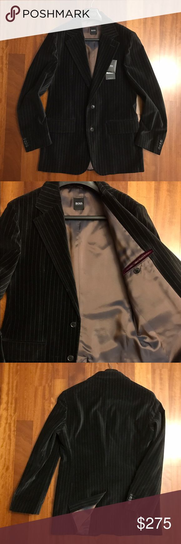 HUGO by Hugo Boss Velvet Blazer Pinstripe HUGO by Hugo Boss. The fabric of the season: Velvet is so hot!  Soft touch velvet. 2-button closure. Vented back. New with tags. Size 40R. No trades. HUGO Suits & Blazers Sport Coats & Blazers
