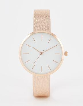 ASOS – Uhr mit strukturiertem Armband und großem Zifferblatt
