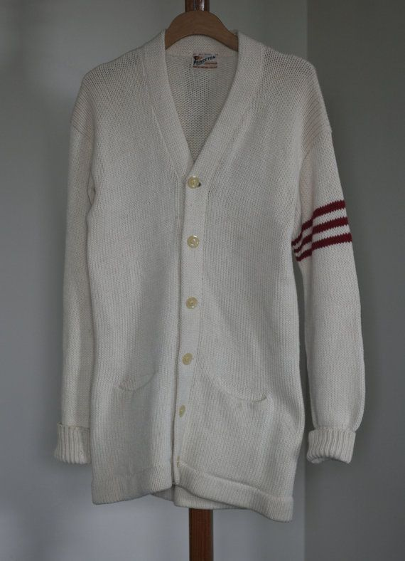 I love that look they had back then when preppy collegiate looked so cool. These look great on guys with a button up underneath, paired with jeans or a crisp pair of pants. - Luckypinup.com    vintage varsity boyfriend sweater by TomTomVintage on Etsy, $75.00