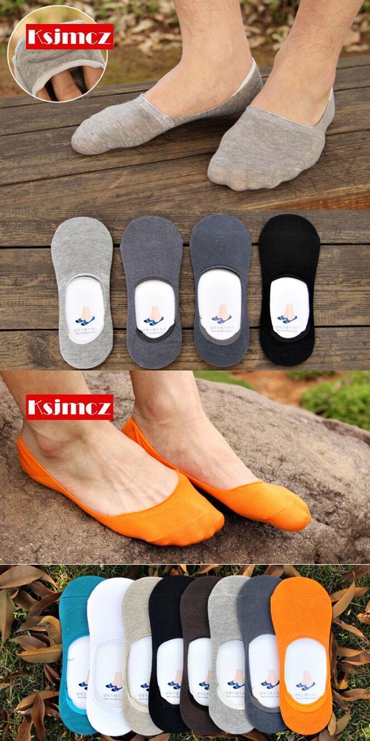 1 Pair KSJMCZ Summer Men's Stealth Socks Solid Color Neutral Socks Silicone Invisible Socks