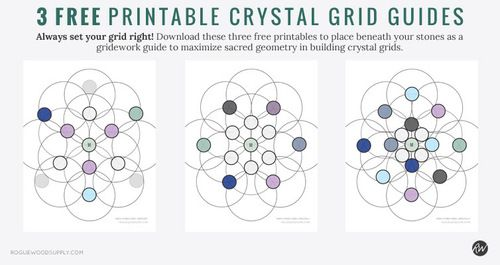 Download these three crystal grid patterns using odds and ends stones - completely free! Always ensure proper grid placement by putting the guide directly beneath your stones | Rogue Wood Supply