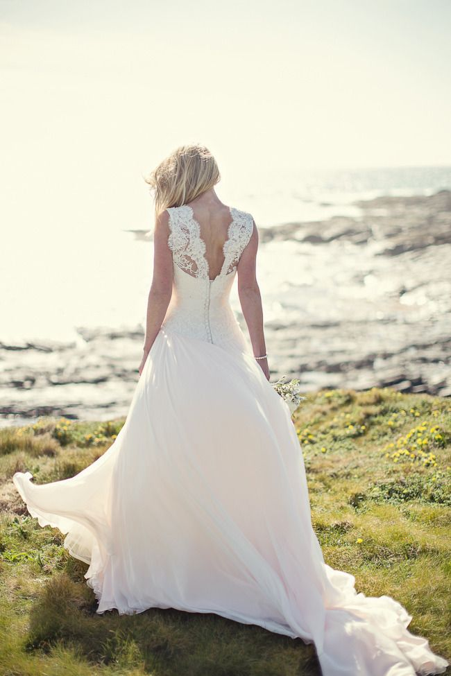 Marianne by Naomi Neoh Atelier. Photography by mariannetaylorphotography.co.uk  Read more - http://www.stylemepretty.com/2013/08/30/cornish-cliff-top-wedding-from-marianne-taylor-photography/
