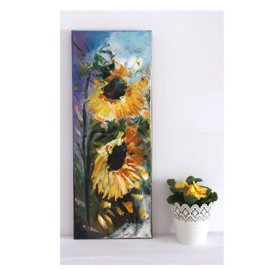 Two sunflowers Oil Painting Art Oryginal Idea by BarbaraGallery