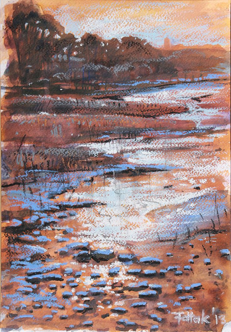 First frost in Augustów, watercolor + oil pastel, 33x23 cm, 2013