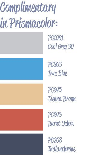 Complimentary color palette by Amy@thinkling, Prismacolor pencils